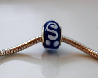 Blue and White Swirl and Dotted Pandora Style Bead