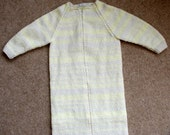 Hand knitted baby's sleeping bag/ dressing gown in cream and lemon for a newborn to 6 months