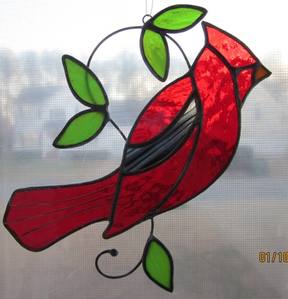stained glass Cardinal suncatcher