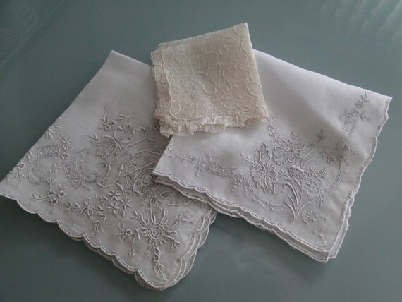 Set of Three Madeira and Embroidered Hankies