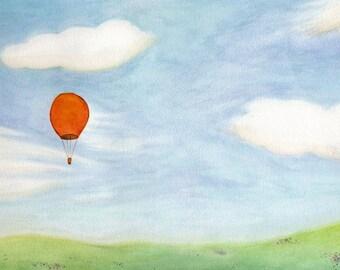 Hot Air Balloon Over a Meadow - Original 9x12 Watercolor