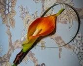 Orange Calla Lily Boutonniere with Brown Ribbon