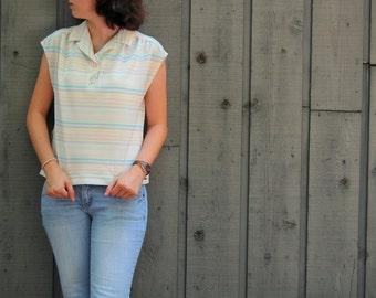 SALE M Vintage 70s Striped Vest