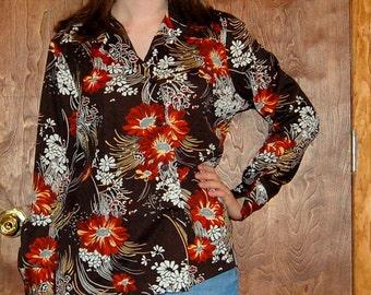 SALE M/L Vintage 70s Brown Collared Floral Shirt