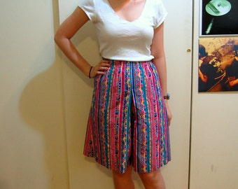 S Vintage 80s/90s Bright Geometric High-Waisted Shorts
