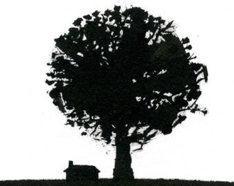 Big Oak, Little House - Original ink drawing
