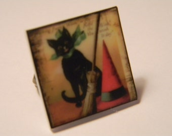 Halloween jewelry Black Cat and witches broom Ring