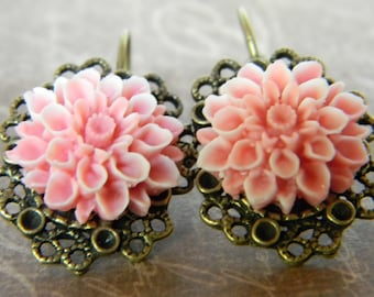Bridal Accessories Jewelry Earrings Blushing Pink Victorian Inspired Earrings