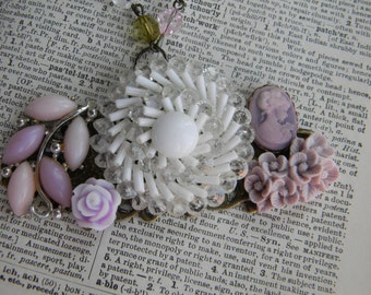 Weddings Accessories Necklaces Boho gift for her Vintage Lilacs Wedding Bridal Collage Necklace