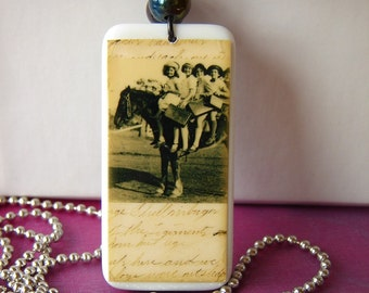 Rustic Wedding Jewelry Necklace Vintage Inspired Cowgirl Up Domino Pendant with Chain