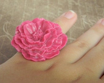 Springtime Easter Jewelry gift Pink Peony Ring