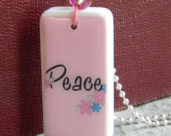 Peace Domino Pendant with chain