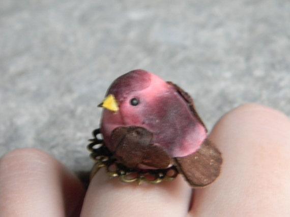 Sweet Little Mushroom Bird Ring