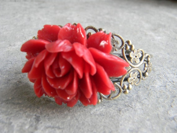 Weddings Bracelets accessories all accessories Boho Jewelry gift Bracelet Bangle Cuff Red Floral Vintage Inspired