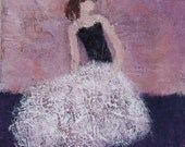 Figurative Painting  Original art  Waiting to Dance 12 x 12   RESERVED
