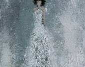 Figurative Painting   11 x 14 Falling Softly White gown textured Swalla Studio