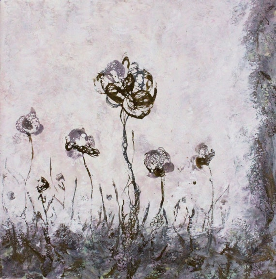 Original Encaustic Bees wax Painting  wild flowers  landscape Swalla Studio 10 x 10
