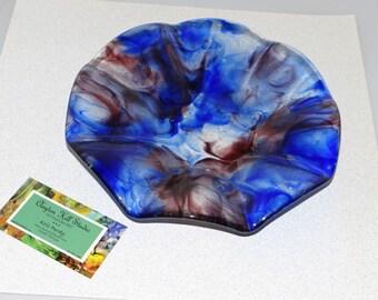 Cobalt Violet Wispy Dish - Fused Glass
