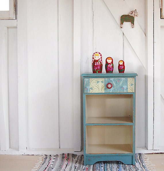 No. 27- painted side table bookshelf with vintage looking paper drawer