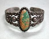 Ornate Old Navajo Cerrillos Turquoise Bracelet Vintage Sterling