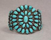 Genuine Old Navajo Pawn Sterling Turquoise Cluster Bracelet Vintage
