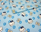 SALE/1 Meter Japanese Cotton Fabric - Hello Kitty and Spring Cherry/Blue/39 Inches X 61 Inches