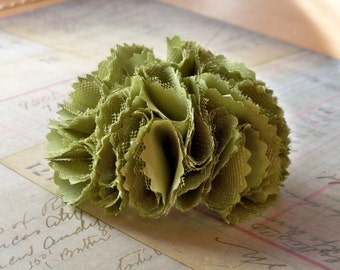 Chartreuse green fabric flower pin