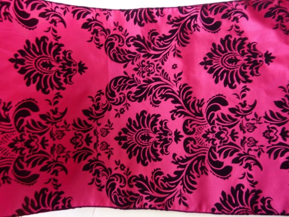 Hot pink damask  table runner 2 pieces
