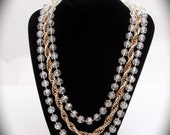 Sarah Coventry Signed Vintage Gold Strand and Clear Beaded Necklace