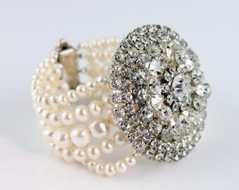 Bridal Custom Vintage Rhinestone Brooch Freshwater Pearl Bracelet