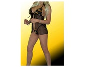 NFL Pittsburgh Steelers Lingerie Negligee Babydoll Sexy Black Teddy Set with Matching G-String