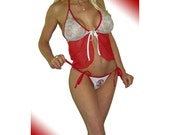 Boston Red Sox MLB Lingerie Negligee Babydoll Sexy Lace Teddy Set