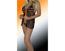 NFL Cincinnati Bengals Lingerie Negligee Babydoll Sexy Teddy Set with Matching G-String