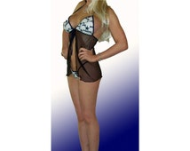 NFL Dallas Cowboys Lingerie Negligee Babydoll Sexy Teddy Set with Matching G-String Thong Panty