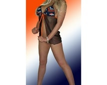 NFL Denver Broncos Lingerie Negligee Babydoll Sexy Teddy Set with Matching G-String Thong Panty