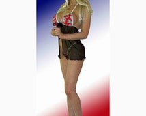 NFL New England Patriots Lingerie Negligee Babydoll Sexy Teddy Set with Matching G-String Thong Panty - NEW FABRIC