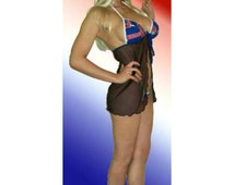 NFL Buffalo Bills Lingerie Negligee Babydoll Sexy Teddy Set with Matching G-String Thong Panty