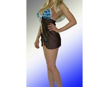 NFL Detroit Lions Lingerie Negligee Babydoll Sexy Teddy Set with Matching G-String Thong Panty