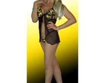 NCAA Iowa Hawkeyes Lingerie Negligee Babydoll Sexy Teddy Set with Matching G-String Thong Panty