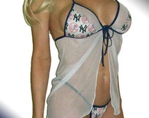MLB New York Yankees Lingerie Negligee Babydoll Sexy Teddy Set with Matching G-String Thong Panty - Only at Sexy Crushes