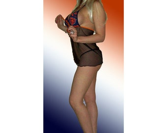 NFL Chicago Bears Lingerie Negligee Babydoll Sexy Teddy Set with Matching G-String Thong Panty