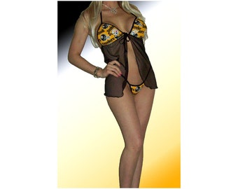 NFL Pittsburgh Steelers Lingerie Negligee Babydoll Sexy Yellow Teddy Set with Matching G-String