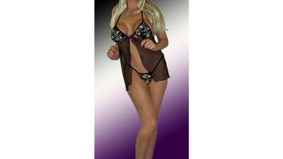 NFL Baltimore Ravens Lingerie Negligee Babydoll Sexy Teddy Set with Matching G-String