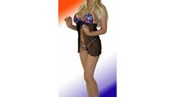NCAA Florida Gators Lingerie Negligee Babydoll Sexy Teddy Set with Matching G-String Thong Panty