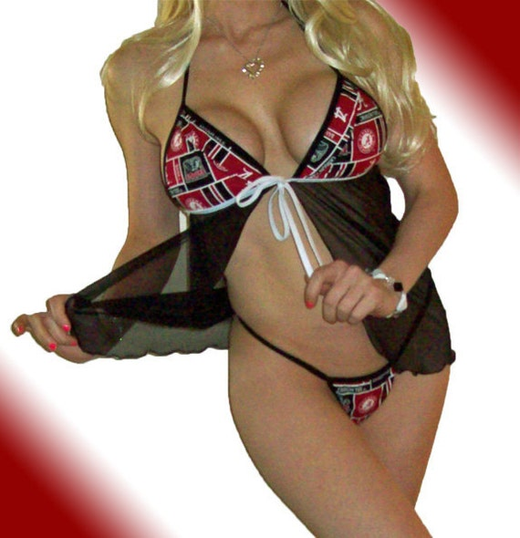 NCAA Alabama Crimson Tide Lingerie Negligee Babydoll Sexy Teddy Set with Matching G-String Thong Panty