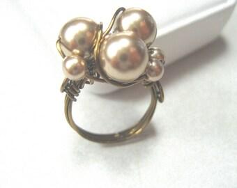 Bronze Swarovski pearl wire-wrapped ring