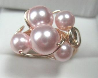 Swarovski pink pearl ring
