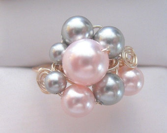 Swarovski pink and silver pearl wire-wrapped ring