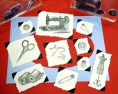 Vintage Sewing Set Clear Polymer Stamp antique scissors buttons