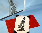 Antique Microscope Clear Polymer Rubber Stamp